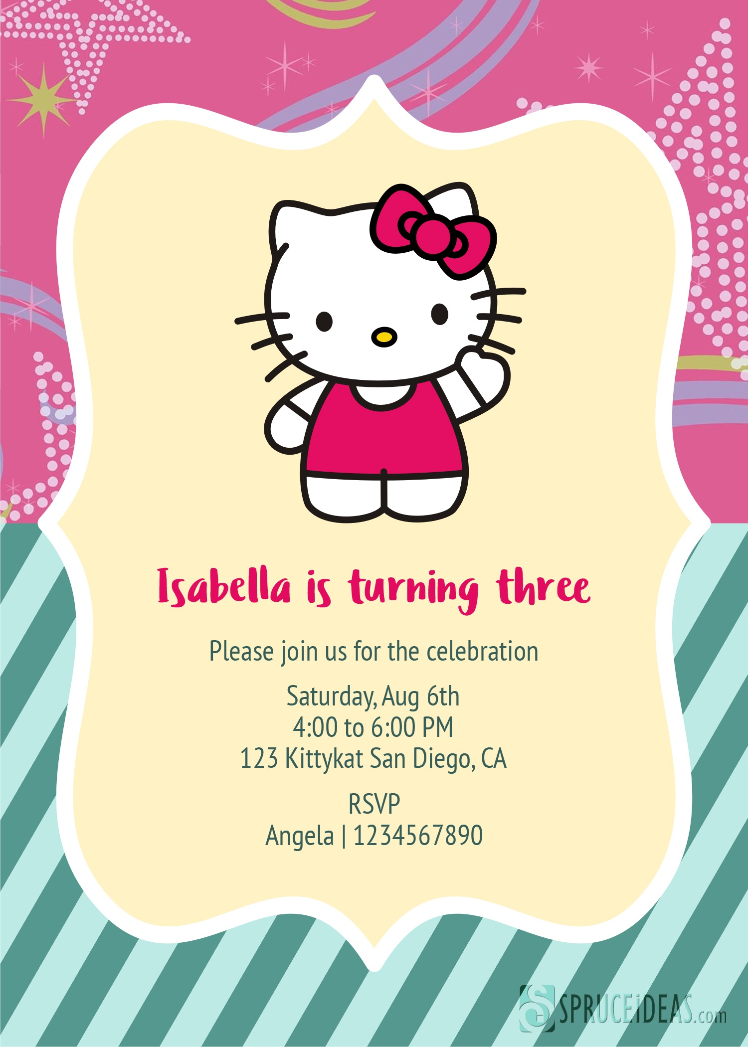 Free Printable Hello Kitty Birthday Invitation Card Template Hello Kitty Birthday Card Printable Free