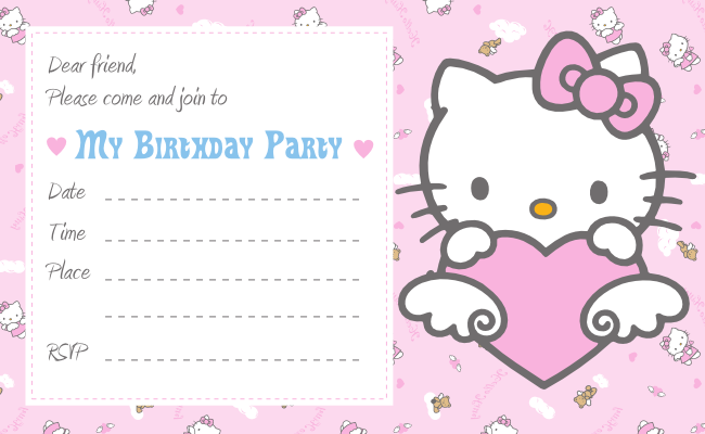 Hello Kitty Invitation Template Free Download