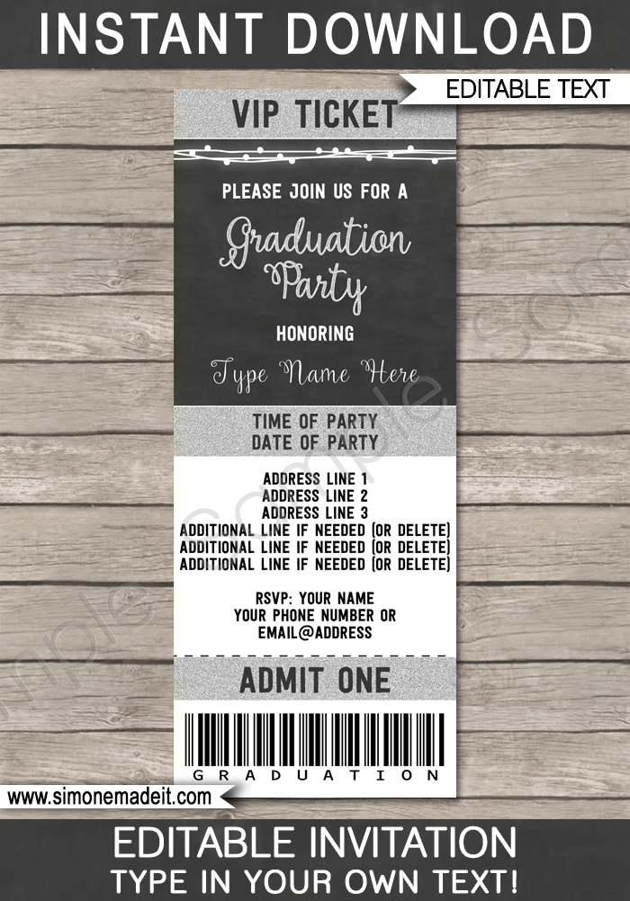 High School Graduation Graduation Ticket Template