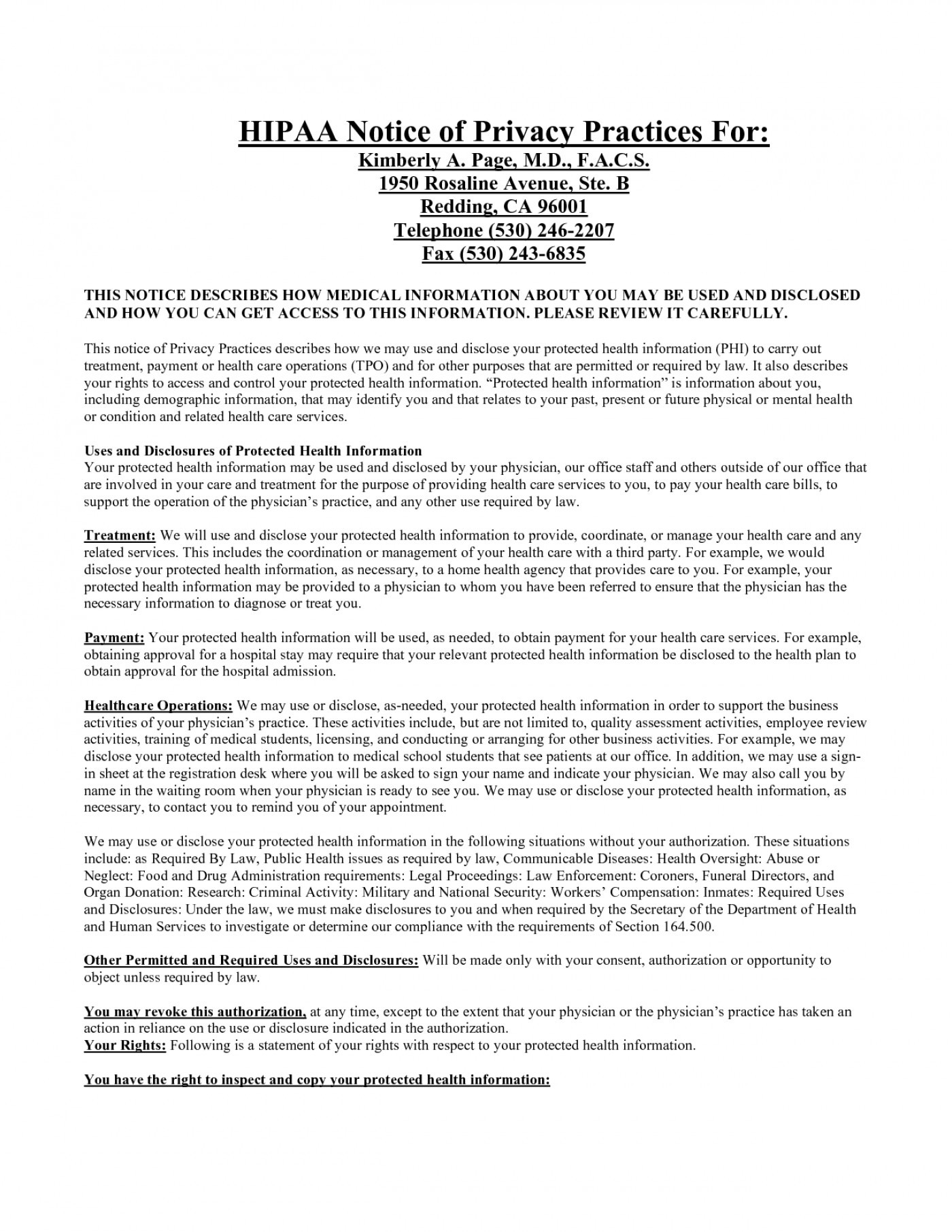 Hipaa Privacy Statement Template For Notice Privacy Practices Consent Form Impressive Templates