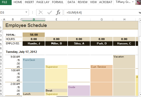 Hourly Employee Schedule Template Excel