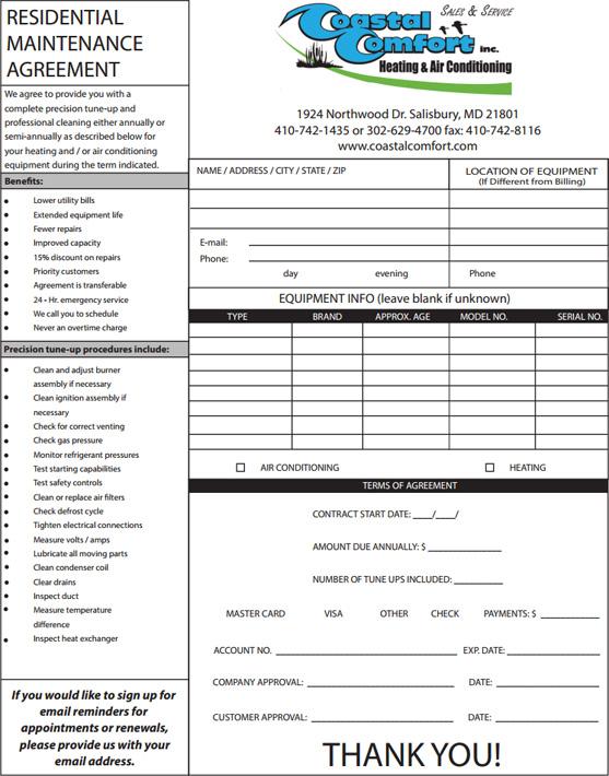 Hvac Maintenance Agreement Template