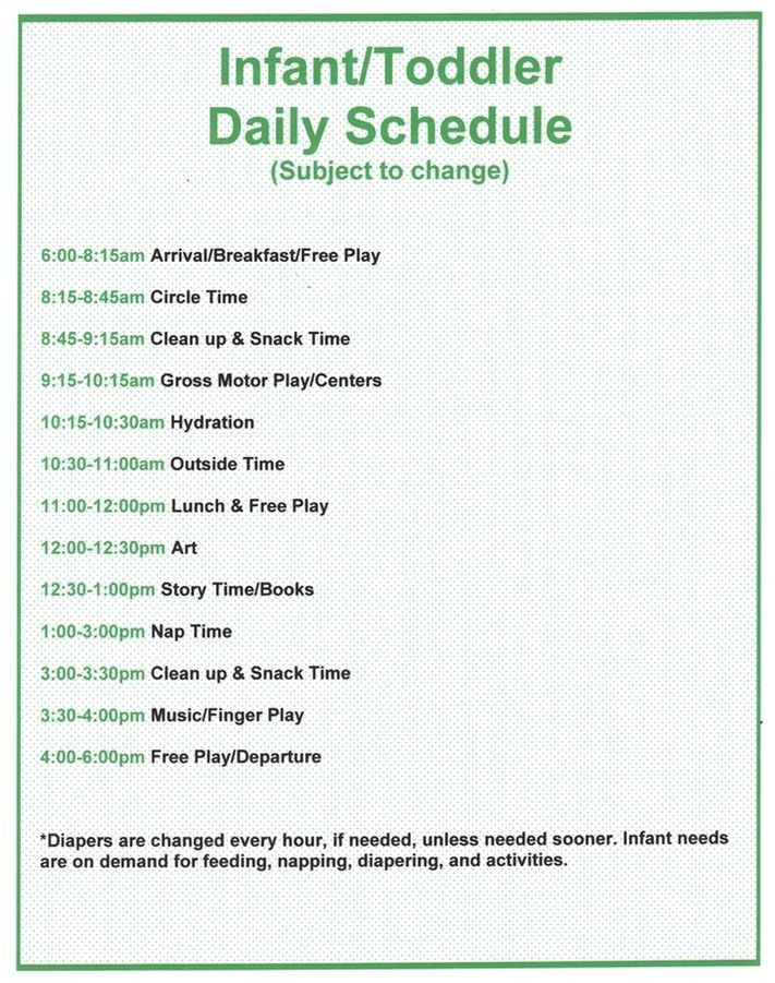 Infant Daycare Schedule Template