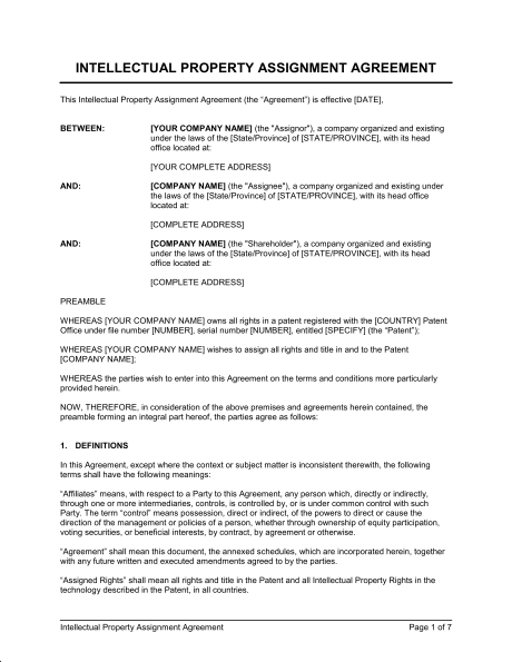 Intellectual Property Transfer Agreement Template