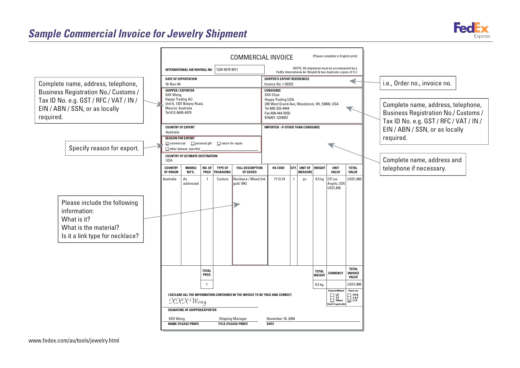 International Customs Invoice Template