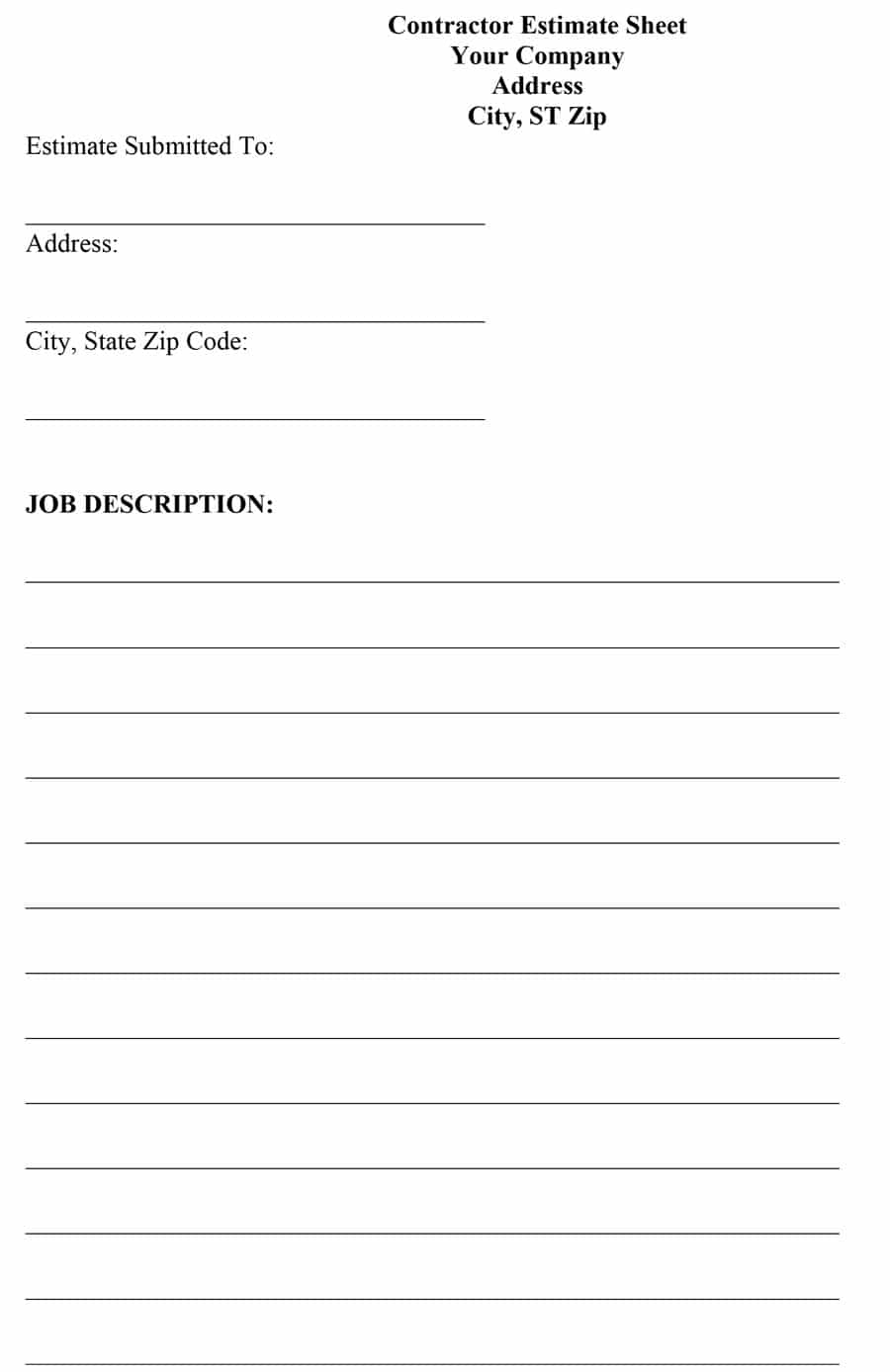 Job Estimate Template Free Download