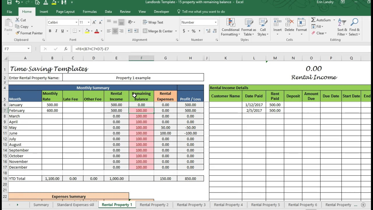 Landlord Rental Property Spreadsheet Template