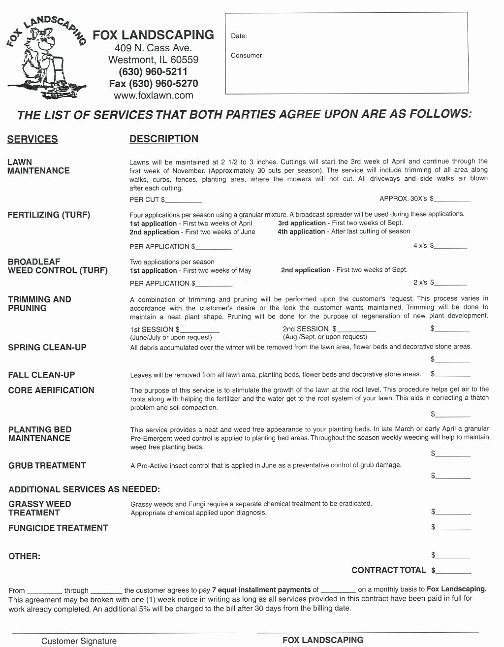 Landscape Maintenance Proposal Template