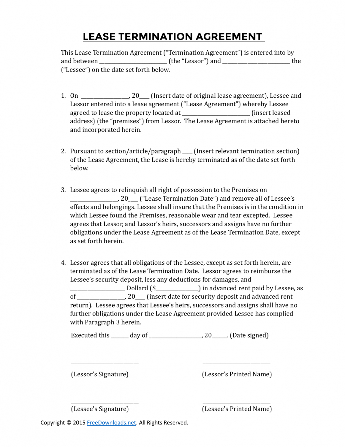 Free Download Early Lease Termination Agreement Pdf Word Lease Termination Agreement Template Doc