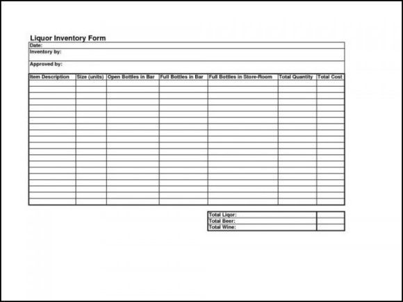 Liquor Inventory Control Template