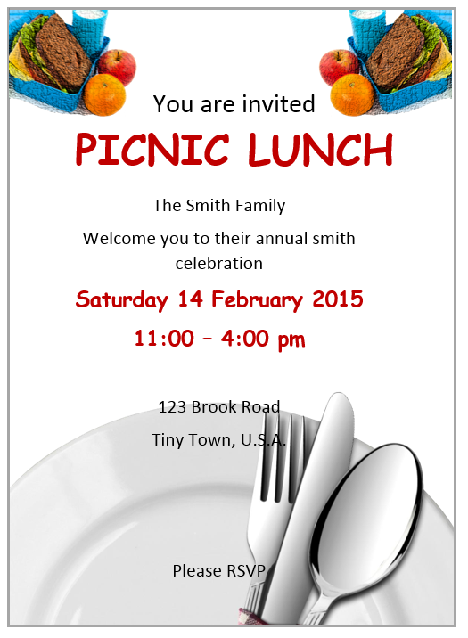 Lunch Invitation Template Word