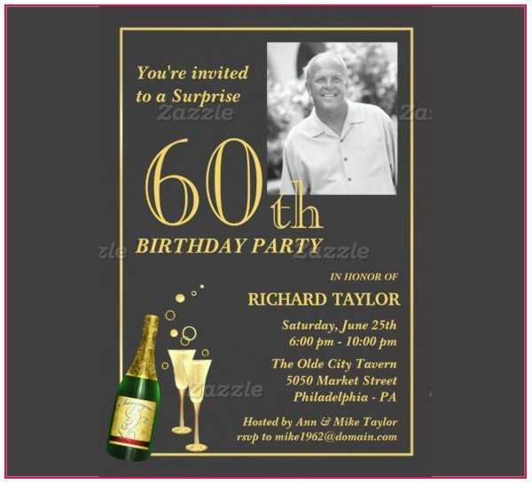 Male 60th Birthday Invitation Template