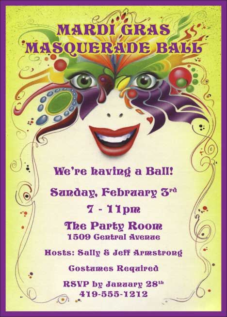 Mardi Gras Birthday Invitation Template Free