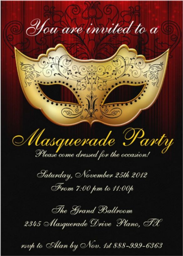 Masquerade Themed Invitation Templates