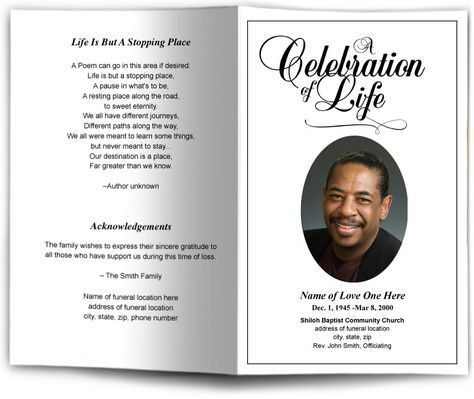 Memorial Templates Funeral Programs Free