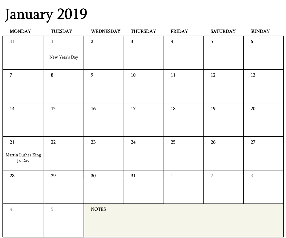 Monthly Calendar Editable Template