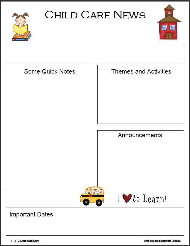 Monthly Daycare Newsletter Templates