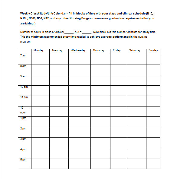 Monthly Nursing Schedule Template