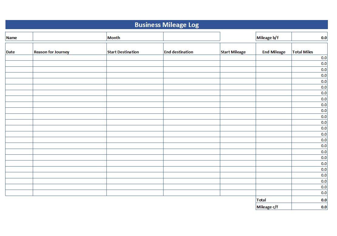 Motor Vehicle Log Book Template