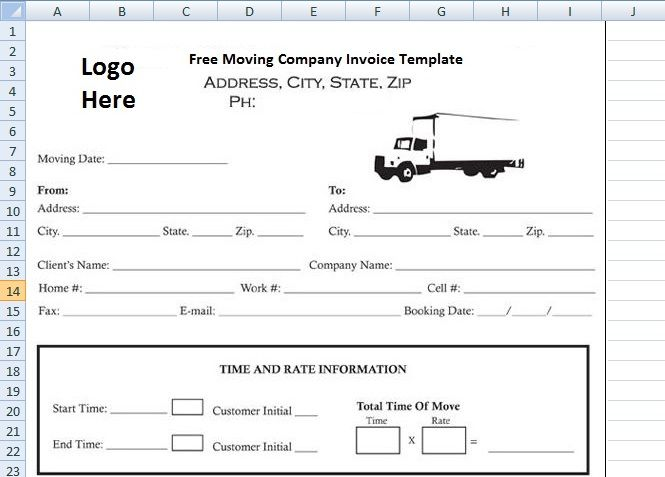 Moving Company Invoice Template Free