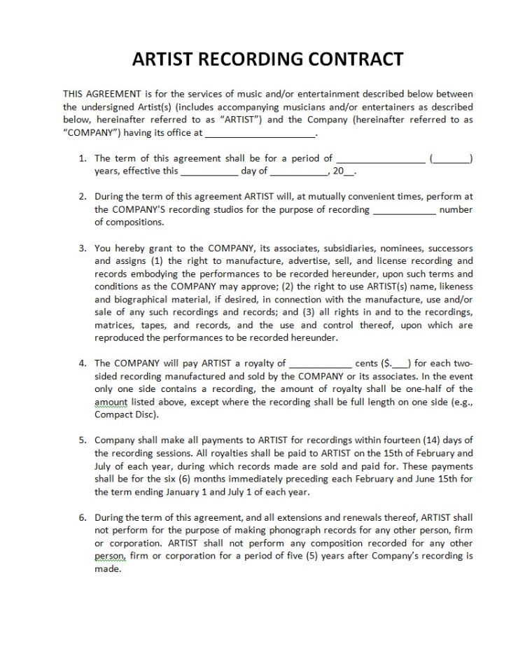 Music Record Label Contract Template
