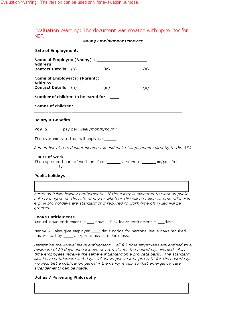 Nanny Employment Contract Template