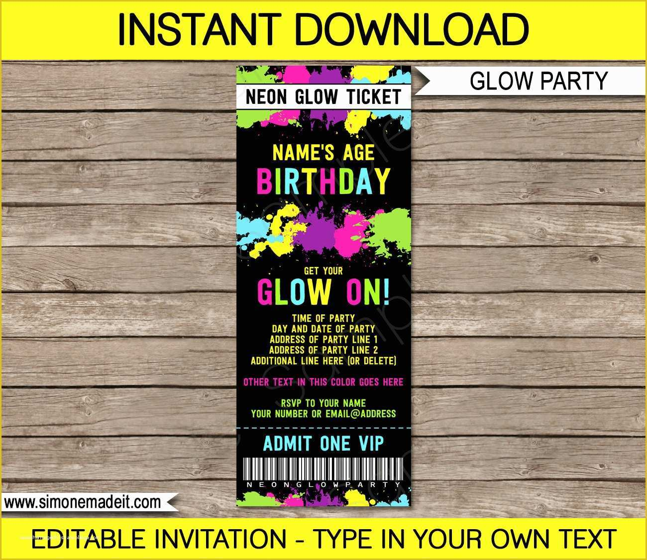 Neon Party Invitations Templates Free Of Neon Glow Party Ticket Invitation Neon Glow Theme Birthday
