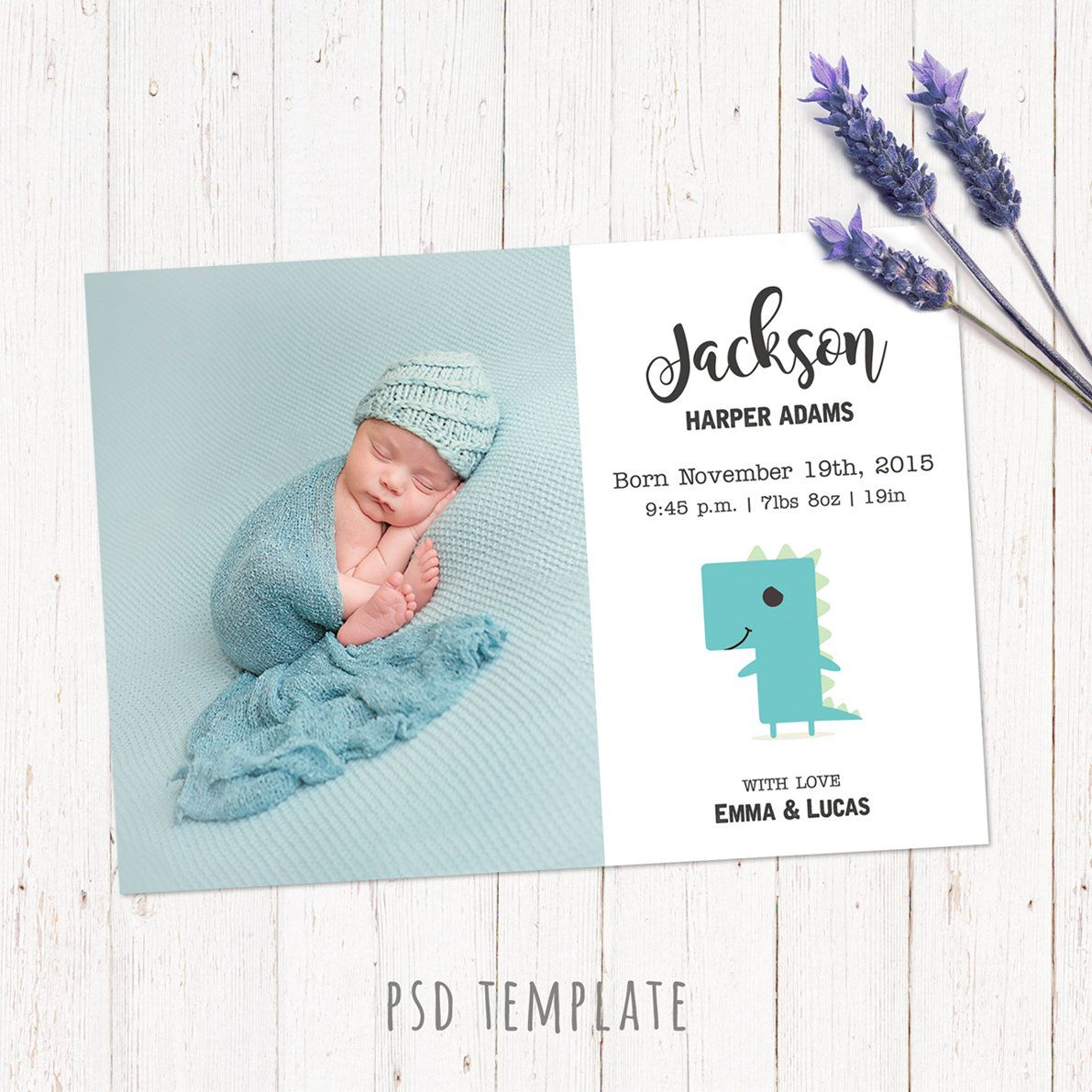 Newborn Baby Boy Announcement Template