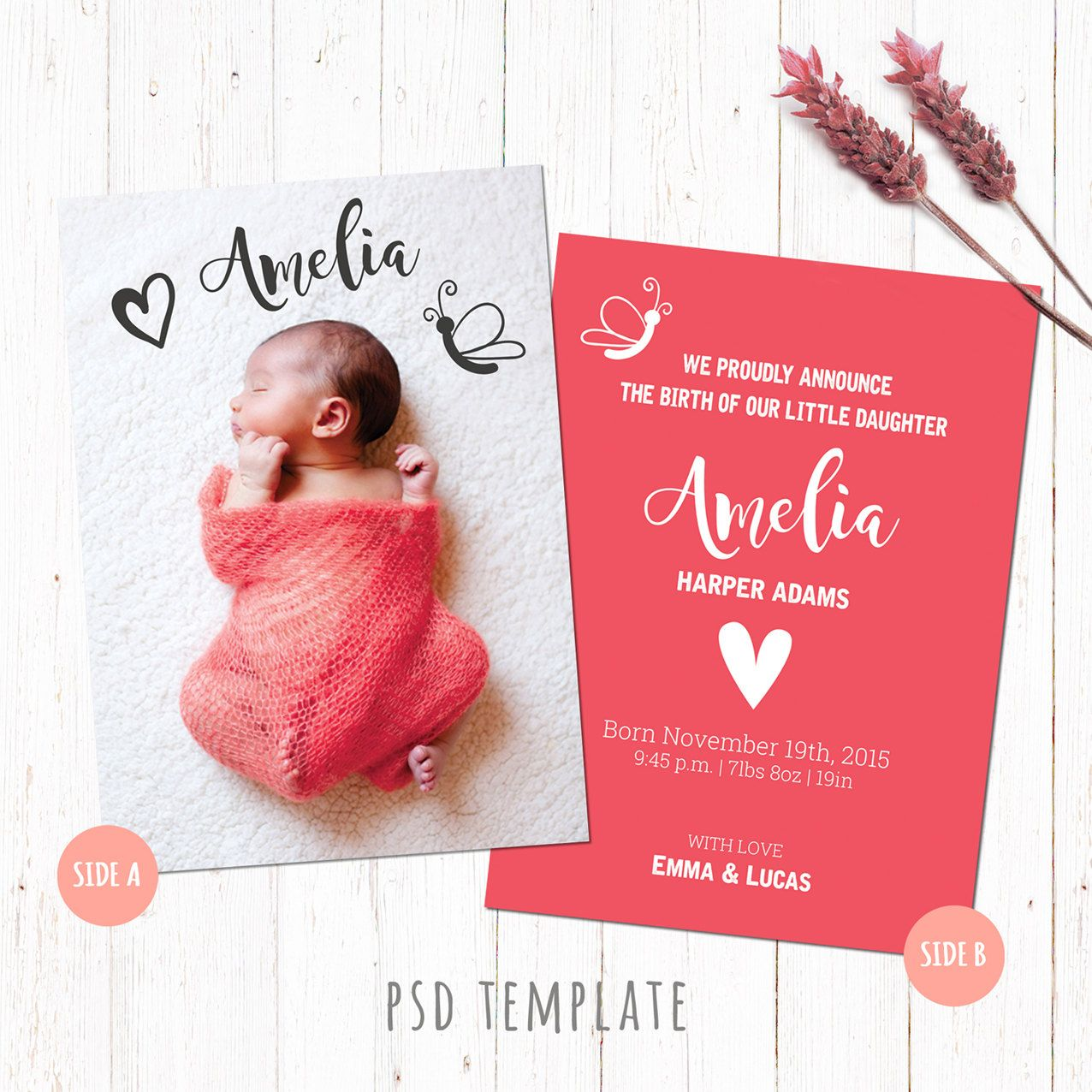 Newborn Baby Girl Announcement Template