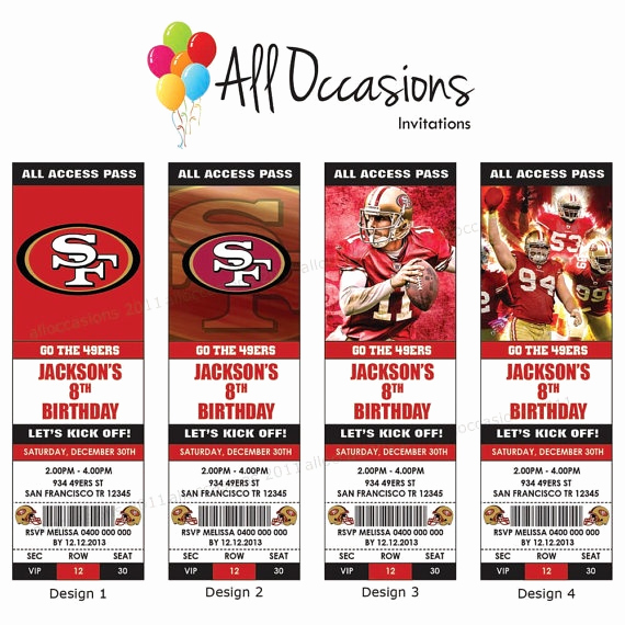 Printable Football Ticket Template Best Of Personalised Custom Nfl Football San Francisco 49ers