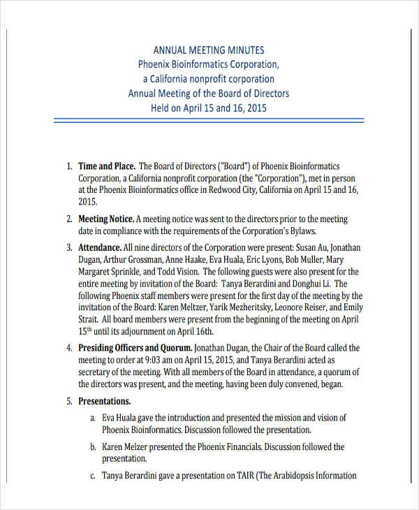 Nonprofit Board Of Directors Meeting Minutes Template
