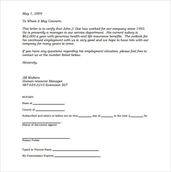 Notarized Letter Notarized Document Template