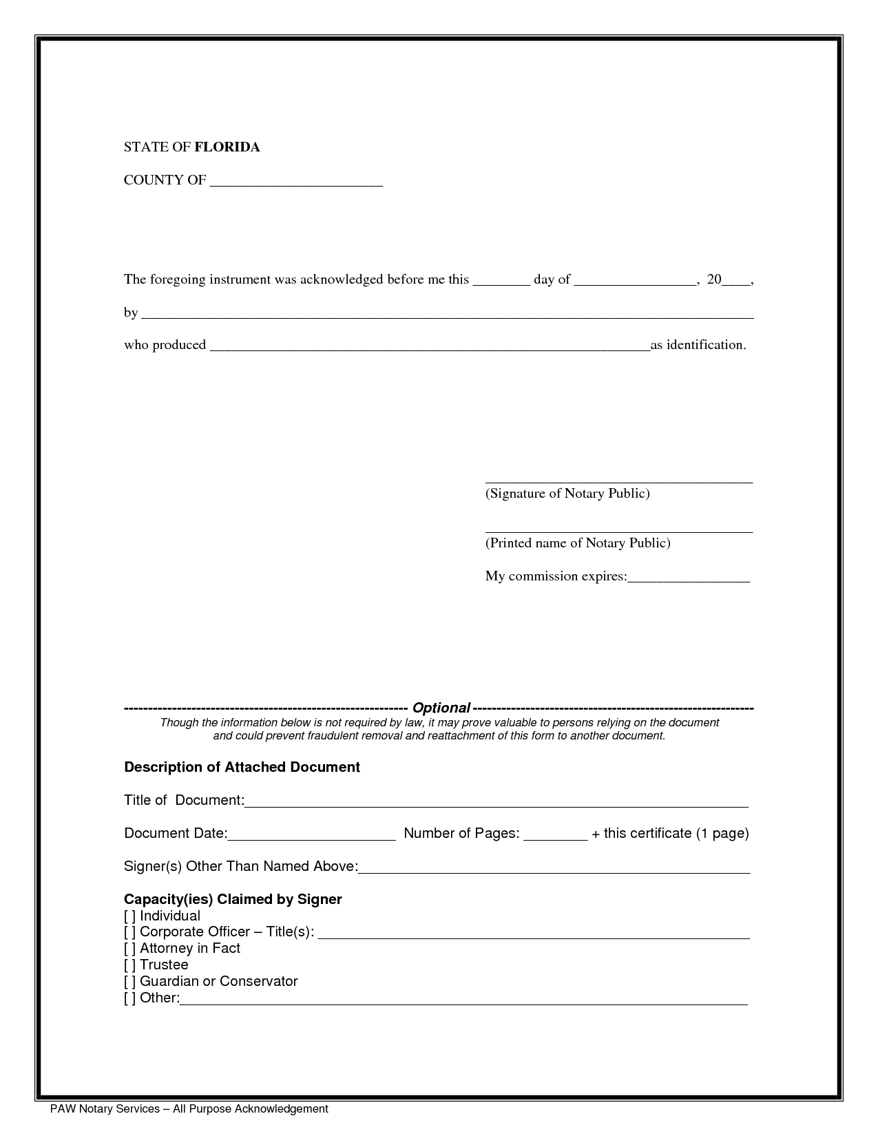 Notary Public Notary Form Template