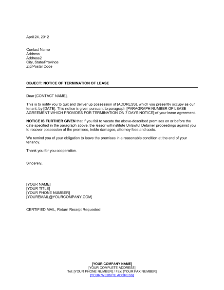 Notice Of Lease Termination Template