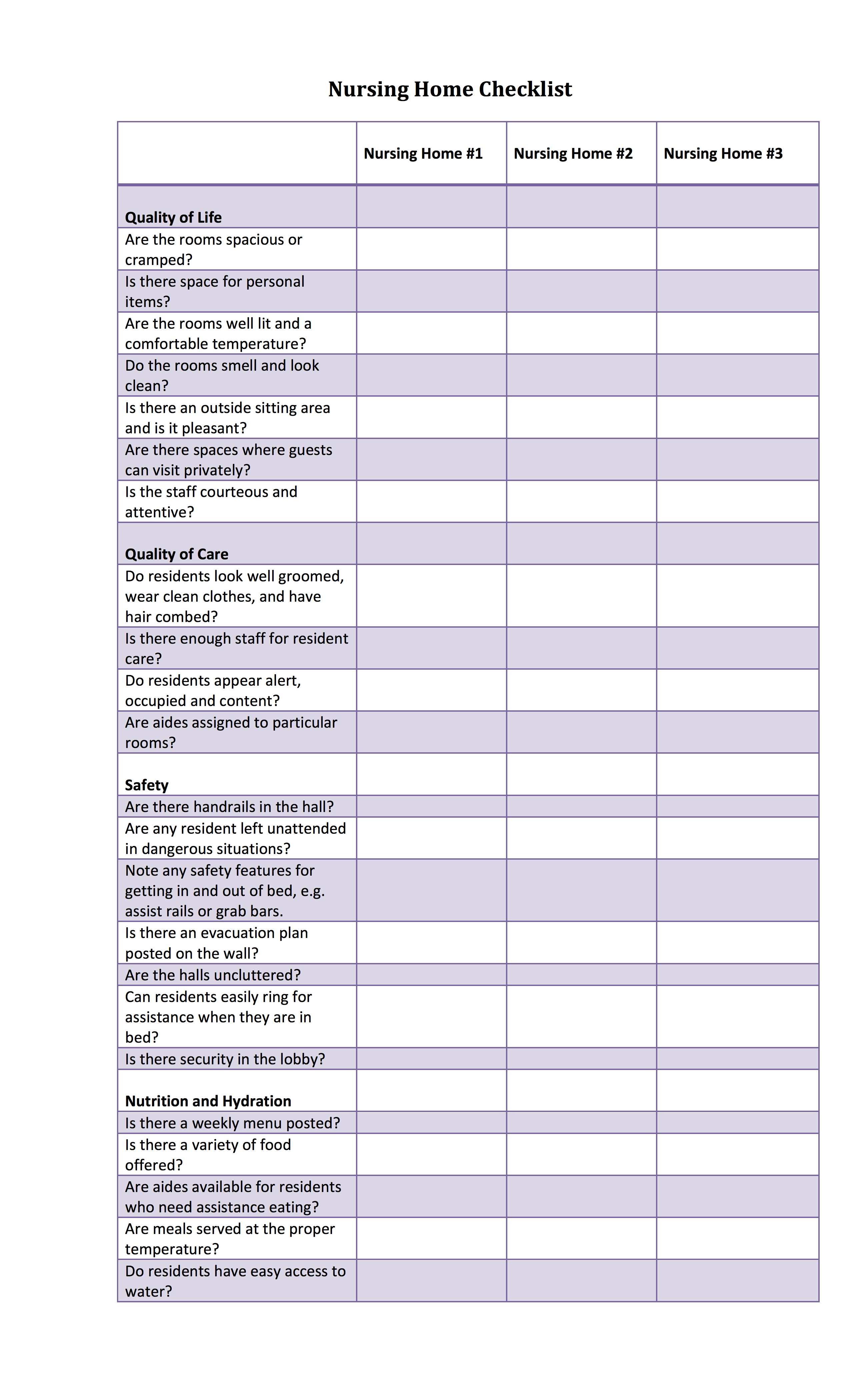 Nursing Home Shower Schedule Template