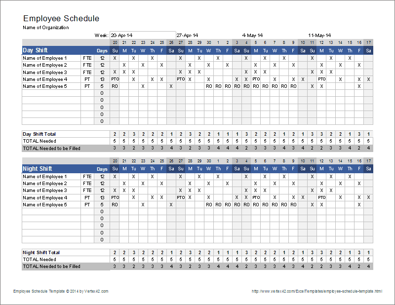Nursing Schedule Template