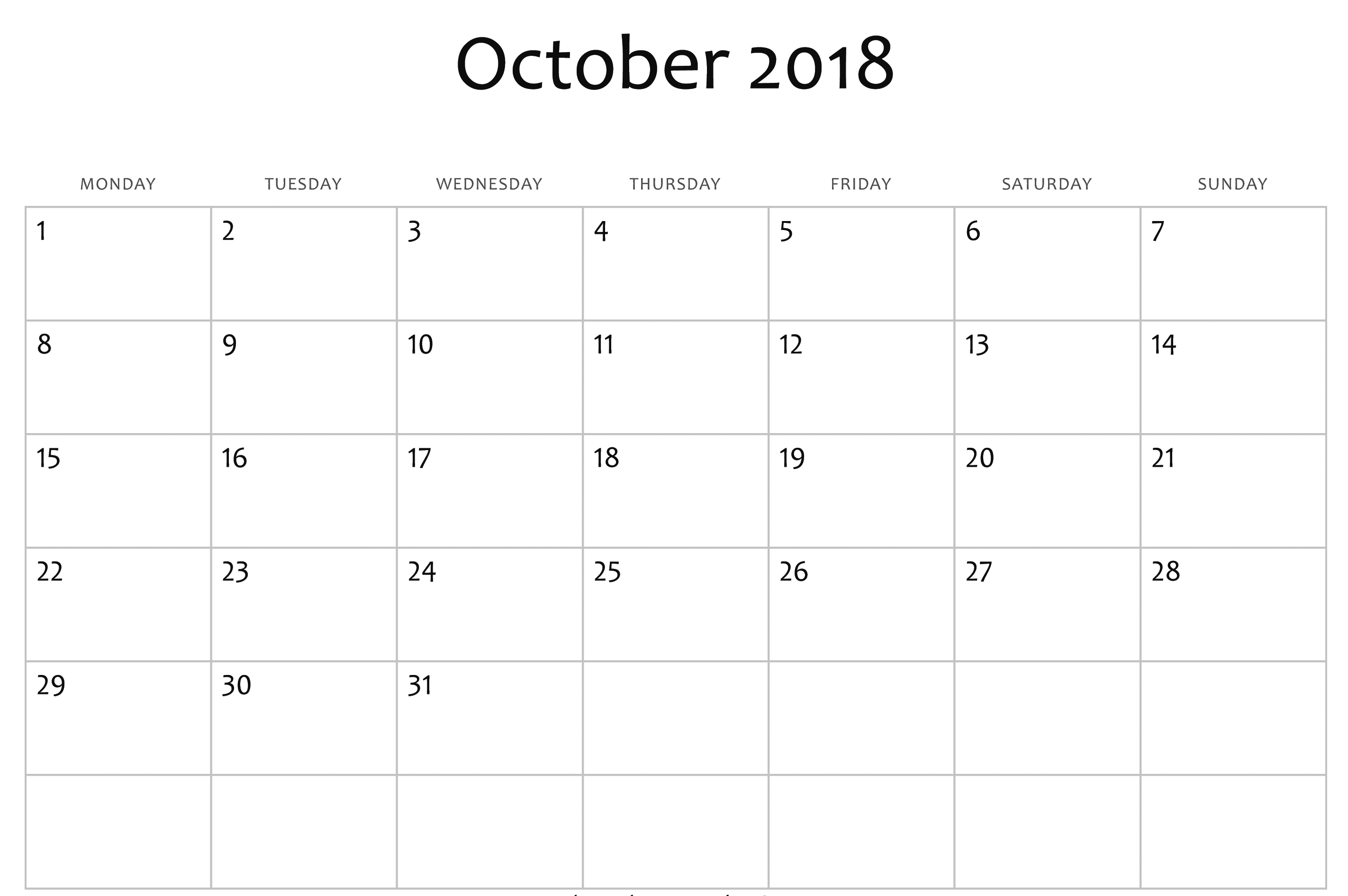 October Calendar Editable Template