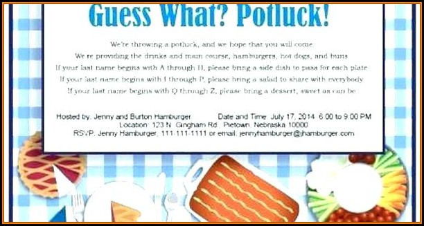 Office Potluck Email Template