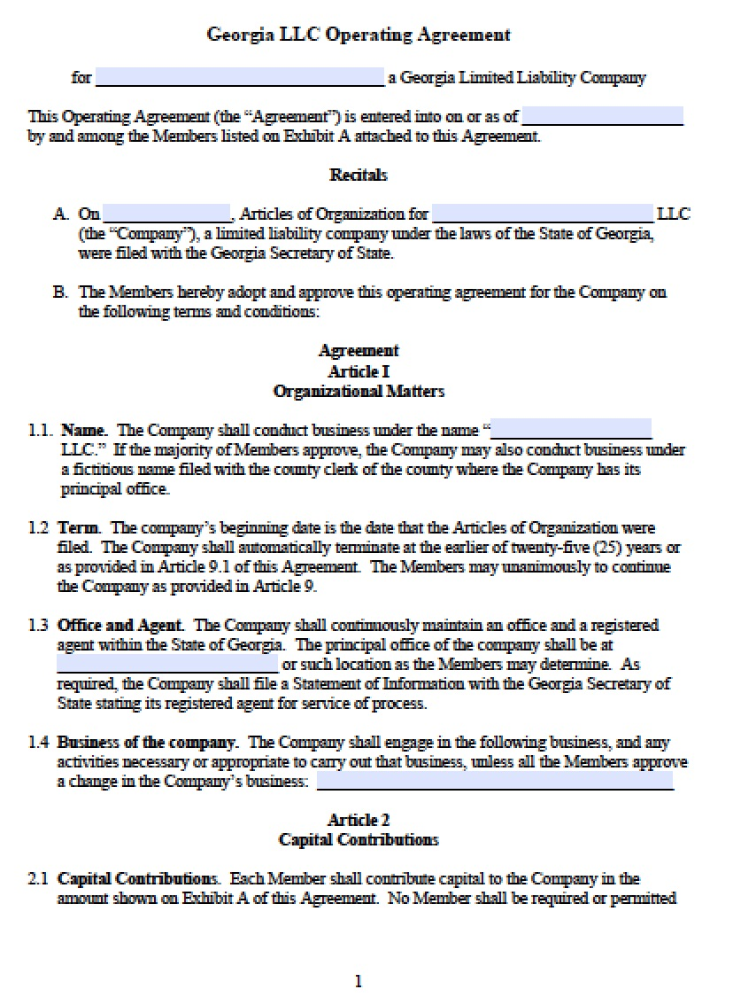 Operating Agreement For Llc Template Georgia