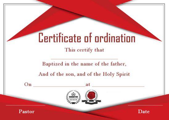 Ordination Certificate Template Free