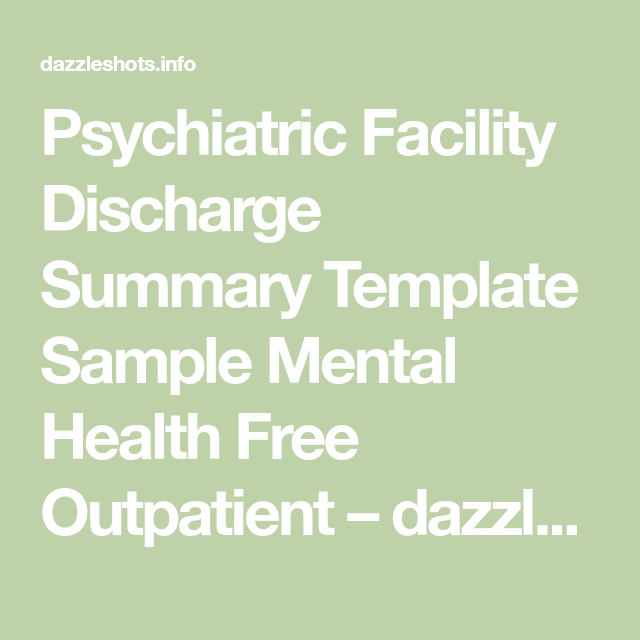 Outpatient Mental Health Discharge Summary Template