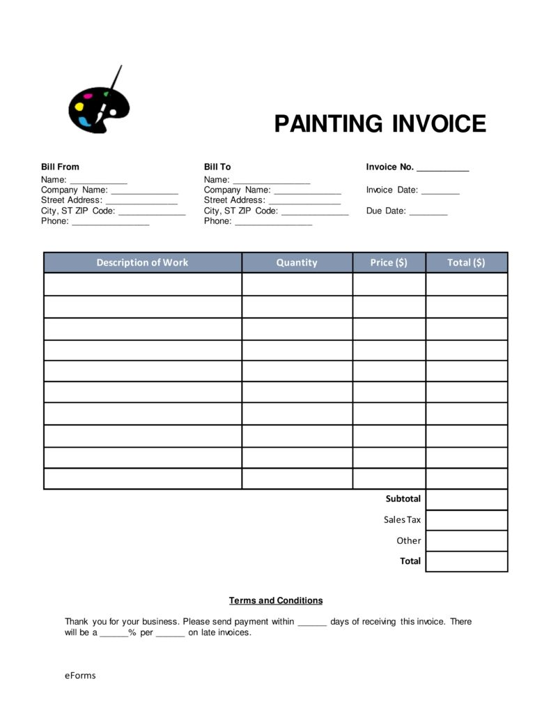 Painting Invoice Template Free