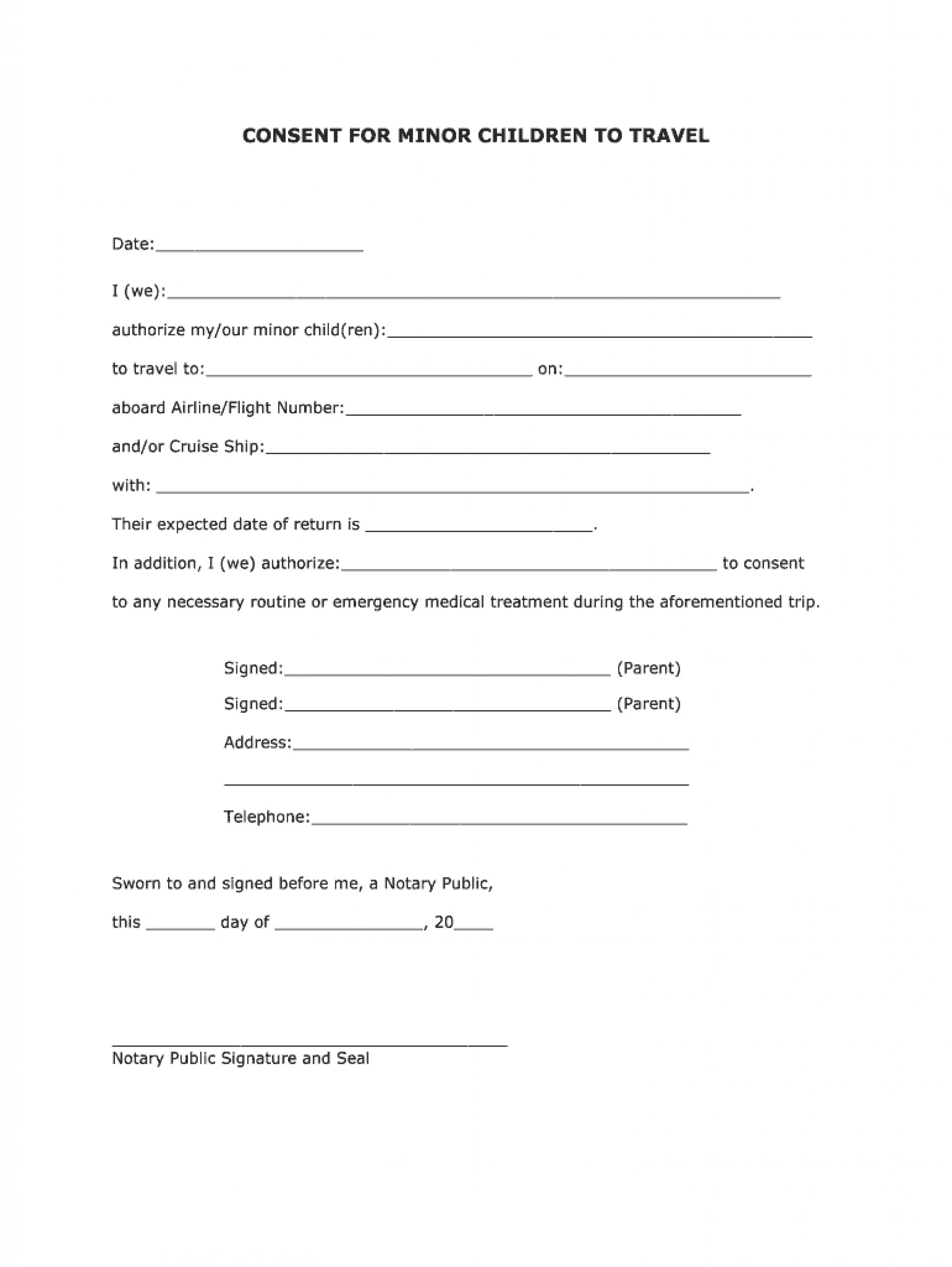 Parental Consent Free Child Travel Consent Form Template Pdf