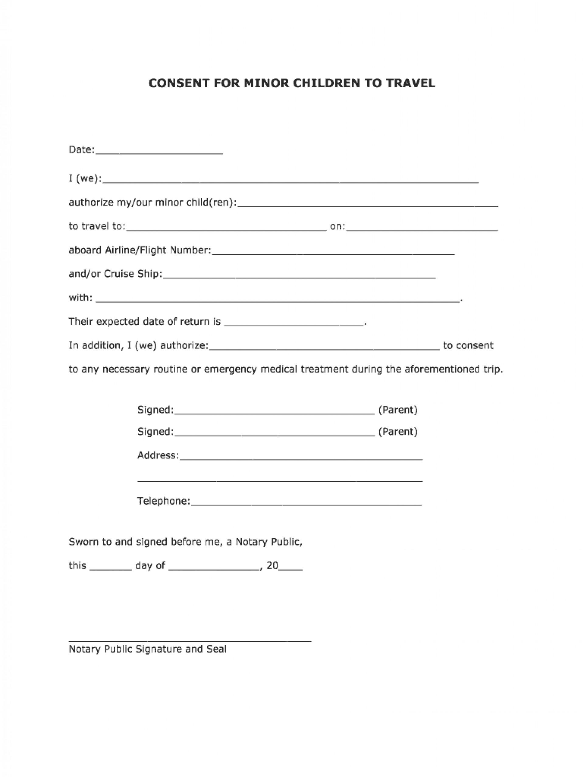 Parental Consent Free Child Travel Consent Form Template Pdf