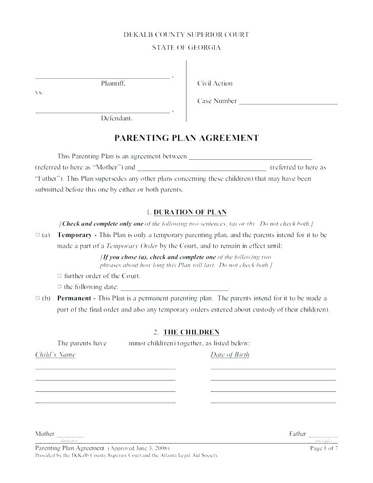 Parenting Plan Child Visitation Agreement Template