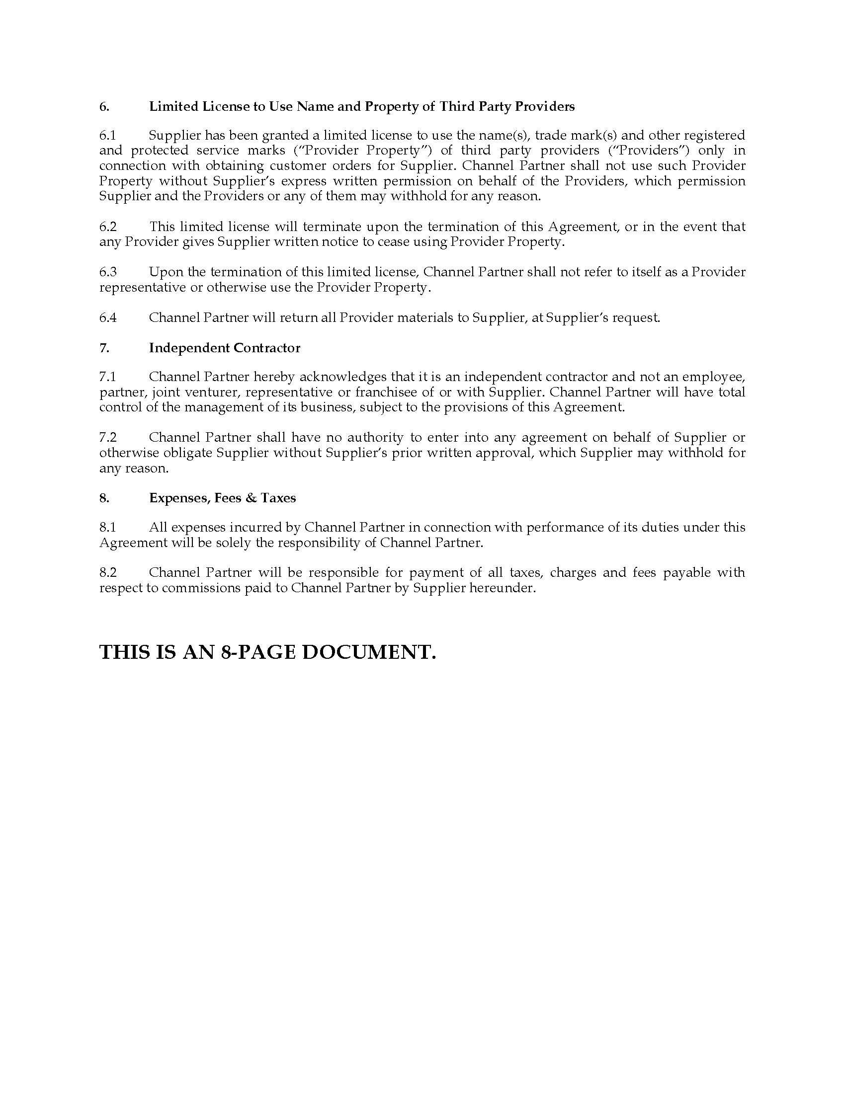 Partner Agreement Template Canada
