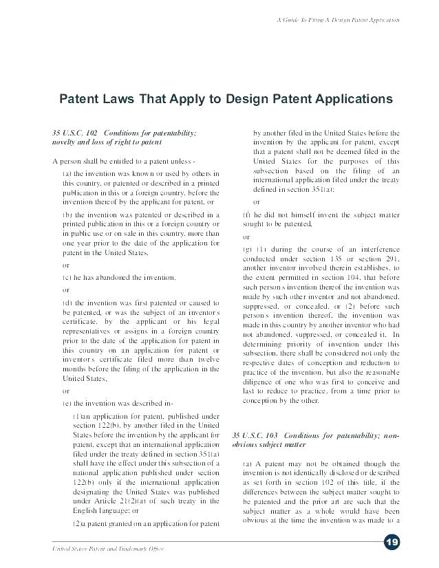 Patent Document Patent Application Template