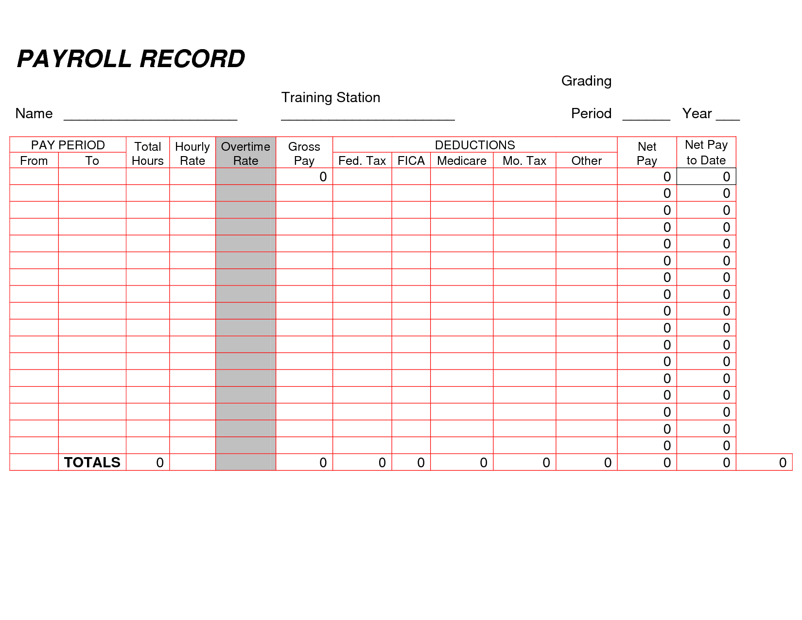 Payroll Record Template