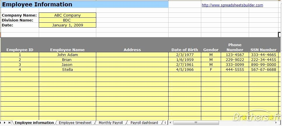 Payroll Spreadsheet Template Excel