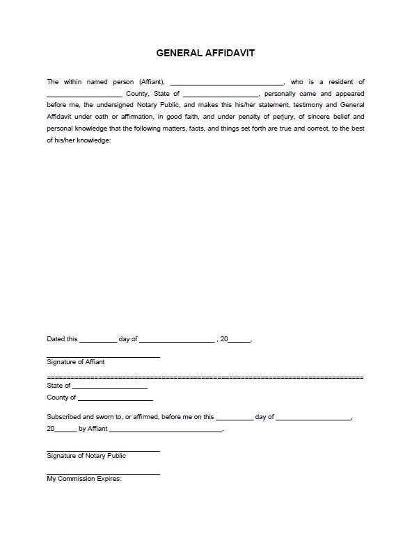 Pdf General Affidavit Template